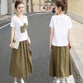 兩件式 棉麻連身裙女2020年夏季新款遮肚子顯瘦文藝亞麻套裝裙子兩件套潮 小宅女