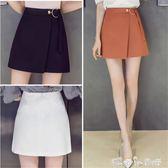 春夏季半身裙高腰不規則黑色裙子氣質大碼女裝假兩件包臀a字短裙 「潔思米」