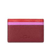 【COACH】防刮皮革拼色卡夾/名片夾(紅/粉/紫)F11739 SVREM