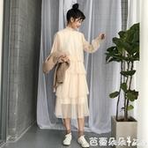 長裙  款韓版氣質甜美蕾絲花邊泡泡袖網紗洋裝女百搭純色中長裙『快速出貨』