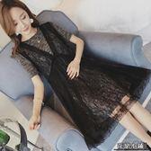 孕婦夏裝連身裙中長款孕婦裙子夏季韓版短袖潮媽蕾絲上衣