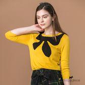Scottish House 胸前大蝴蝶結織紋七分袖針織上衣 X1454