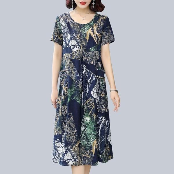 媽媽裝夏季洋裝大碼顯瘦中老年人棉綢睡裙過膝長裙子中年老女裝 幸福第一站