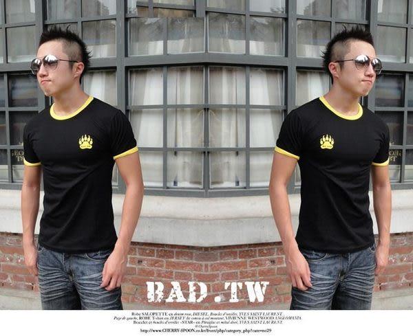 奢華壞男《 熊掌限量款 - 超舒適彈性剪裁合身T恤 (黑底滾黃邊) 》【S / M / L / XL / XXL】(潮T、上衣)