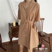 韓版chic復古繫帶百搭休閒中長款襯衫式短袖洋裝女 可可鞋櫃