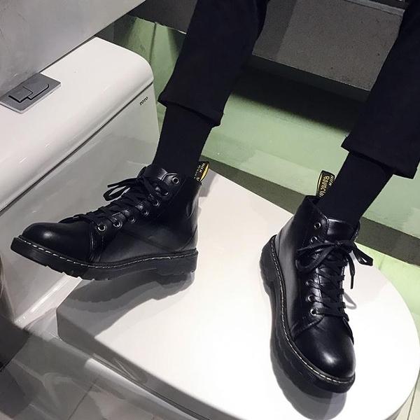 秋季工裝馬丁靴男中幫韓版潮男皮面鞋子英倫百搭休閒黑色高幫皮鞋 韓國時尚週