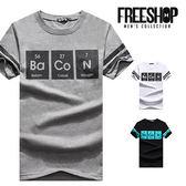 短T Free Shop 【QMD60235 】美式休閒化學元素表色塊圓領棉質短T 短袖上