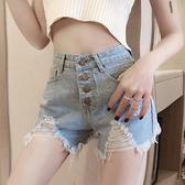 短褲 泫雅網紅高腰排扣毛邊牛仔短褲女夏季新款復古顯瘦破洞性感熱褲潮 街頭