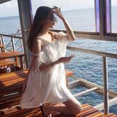 虧本衝量-洋裝 巴厘島沙灘裙顯瘦夏海邊度假裙 韓國 超仙一字肩連身裙吊帶裙 快速出貨