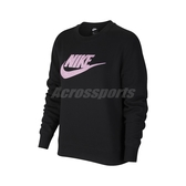 Nike 長袖T恤 NSW Essential Sweatshirt 黑 粉 女款 大學T 運動休閒【ACS】 DC5139-010