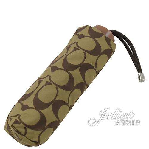 茱麗葉精品【全新現貨】 COACH 63365 經典C LOGO折疊短把晴雨傘.駝/咖
