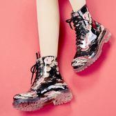 時尚雨靴短筒馬丁水鞋防滑膠鞋繫帶成人休閒雨鞋女『櫻花小屋』