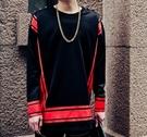 FINDSENSE品牌 男 時尚 街頭 潮 紅色印花 肩膀鈕扣 長袖T恤 特色長