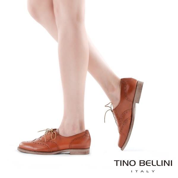 Tino Bellini義大利經典真皮雕花牛津鞋_咖 A83085 歐洲進口款