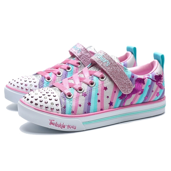 SKECHERS SLIGHT 5 粉藍紫 條紋 獨角獸 發亮款 運動鞋 中童 (布魯克林) 20275LGYMT