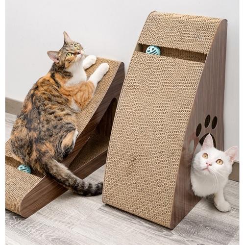 四個工作天出貨除了缺貨》dyy站立式靠牆貓抓板 瓦楞 立式貓抓柱 貓咪磨爪-鏤空三角大號