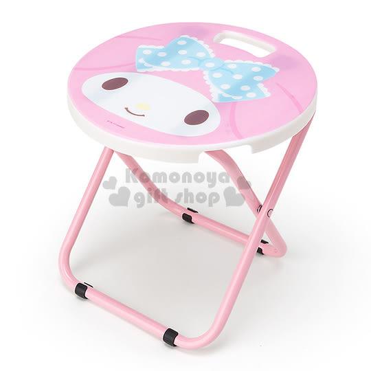 〔小禮堂〕美樂蒂 折疊椅《粉白.大臉.圓型》可折疊收納.春夏野餐系列 4901610-02328