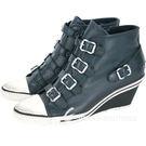 ASH GENIAL 經典羊皮釦帶楔型休閒鞋(深綠色) 1520450-18