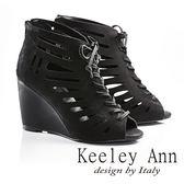 ★零碼出清★Keeley Ann帥氣魚骨綁帶真皮高跟魚口踝靴(黑色)-Ann系列