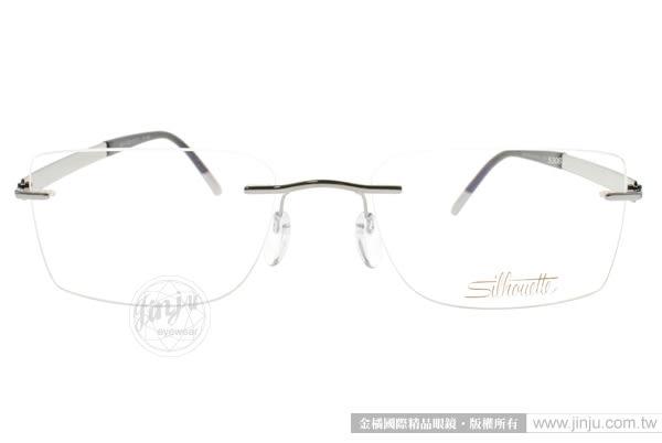 SILHOUETTE 詩樂 光學眼鏡 ST5306 C6055 (銀-黑) 奧地利純鈦超輕量工藝無框款 平光鏡框 # 金橘眼鏡