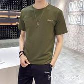 運動套裝男士2019夏季新款休閒潮流寬鬆短袖t恤跑步大碼兩件式套裝LZ1884【PINK中大尺碼】