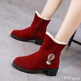 中筒靴 2020秋冬新款韓版舒適女靴粗跟雪地靴內增高馬丁靴中筒靴加絨短靴 開春特惠