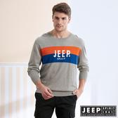 【JEEP】撞色LOGO長袖針織衫 (灰色)