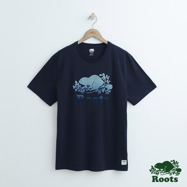 男裝-Roots 庫柏漸層短袖T恤 - 藍色