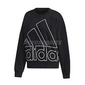 adidas 長袖T恤 Graphic Sweatshirt 黑 白 女款 運動休閒 【ACS】 GK0614