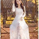 中大尺碼*甜美花瓣領透膚蕾絲袖網紗長裙洋裝小禮服~白色~美之札