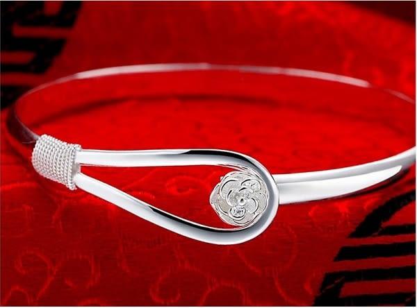 S925銀簡潔優雅花瓣銀手鐲手環 18K真白金 (0712)