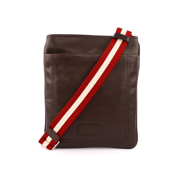 【BALLY】 牛皮扁斜背包(巧克力色) TERINO 261 HOCCOL