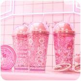 網紅夏日吸管冰杯少女學生碎冰杯水杯子可愛瞬冰抖音同款塑料ins居享優品
