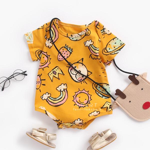 動物印花短袖三角包屁衣 黃色彩虹貓 兔裝 哈衣 寶寶服 連身衣