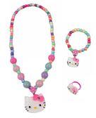 【卡漫城】 Hello Kitty 兒童飾品 三件組 大彩珠 ㊣版 玩具 小女孩 扮家家酒 手鍊 戒指 項鍊  手環
