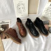 秋季ins風新款英倫風馬丁靴女復古百搭單靴短筒靴子chic百搭 蘿莉小腳丫