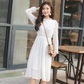 大韓訂製甜美蕾絲連身裙日系韓版中長洋裝可愛約會小白裙襯裙