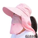 大沿防曬帽子女夏天騎車遮臉紫外線面罩大檐遮陽帽太陽帽采茶涼帽 傑森型男館