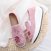 新款古風提花棉布繡花布鞋 舒適一腳蹬厚底休閒鞋民族風女單鞋