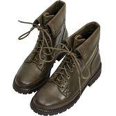 AIR SPACE 率性擦色感綁帶馬丁短靴(軍綠)