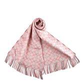 美國正品 COACH LOGO/格紋雙面用羊毛流蘇圍巾-粉色【現貨】