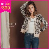 PUFII-針織外套 個性豹紋圓圈造型拉鍊針織薄外套 2色-1004 現+預 秋【CP15276】