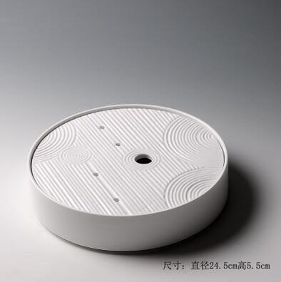 素影 陶瓷小茶盤圓形幹泡盤茶道功夫竹製儲水式托盤茶台 滌煩圓盤【和序(陶瓷)】