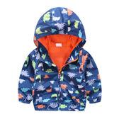 恐龍連帽拉鍊外套 風衣 薄外套 防風外套 拉鍊夾克 橘魔法Baby magic  現貨 童裝 兒童 男童