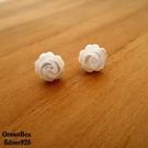 ☆§海洋盒子§☆清新唯美白殼玫瑰花耳針式純銀耳環 《925純銀》