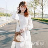 2018春夏新款甜美V領系帶收腰白色蕾絲連身裙打底裙仙女裙子女裙