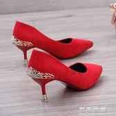 婚鞋女紅色高跟鞋細跟紅鞋新娘鞋中式尖頭貓跟鞋伴娘中跟結婚鞋子 可可鞋櫃