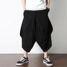 促銷 夏季男士尼泊爾燈籠褲中國風潮流嘻哈闊腿褲飛鼠褲寬松七分大襠褲