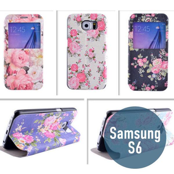SAMSUNG 三星 S6 彩繪花朵皮套 側翻皮套 支架 手機套 保護套 手機殼 保護套 可愛 皮套