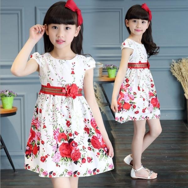 衣童趣♥中大女童 花朵甜美款洋裝 清新玫瑰花連身裙 外出 正式場合 必備 女童婚禮花童